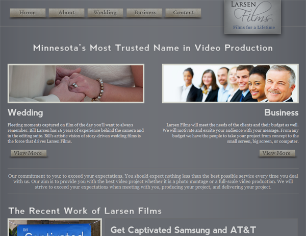 Larsen Films Homepage Built by Spark Logix Studios