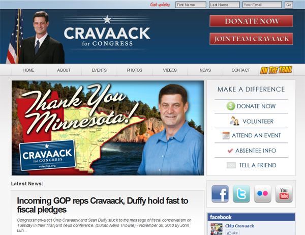 Congressman Chip Cravaack website created by Spark Logix Studio